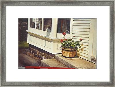 Red Geraniums Framed Print by Marion  Hylton