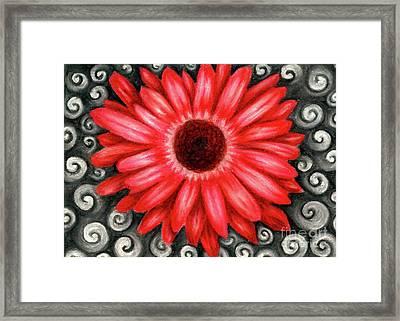 Red Gerbera Daisy Drawing Framed Print