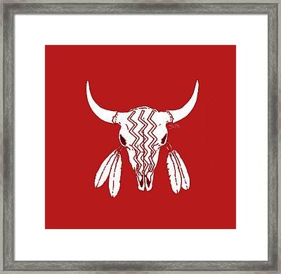 Red Ghost Dance Buffalo Framed Print by Steamy Raimon