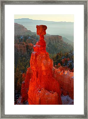 Red Glow Of The Sunrise On Thor's Hammer In Bryce Canyon Framed Print by Pierre Leclerc Photography
