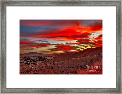 Red Glow Over Emmett Framed Print by Robert Bales