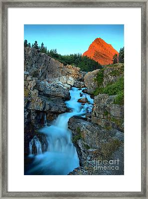 Red Glow Over Swiftcurrent Framed Print