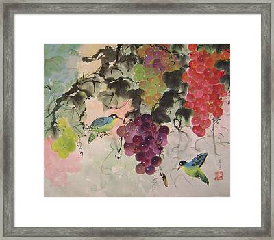 Red Grapes And Blue Birds Framed Print by Lian Zhen