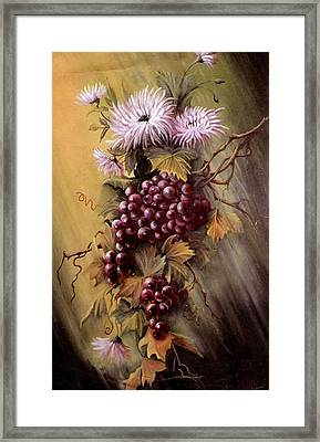Red Grapes And Flowers Framed Print