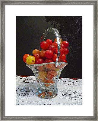 Framed Print featuring the photograph Red Grapes In Crystal And Lace by Margie Avellino