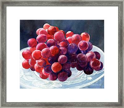Red Grapes On A Plate Dark Background Framed Print