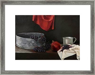 Red Grapes Framed Print by Raimonda Jatkeviciute-Kasparaviciene