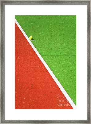 Red Green White Line And Tennis Ball Framed Print