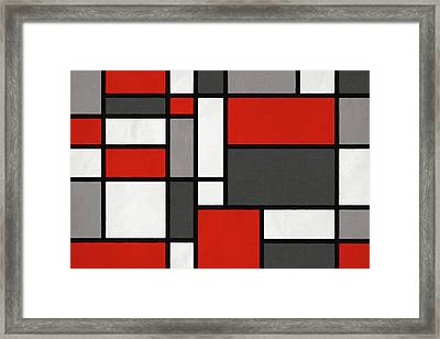 Red Grey Black Mondrian Inspired Framed Print by Michael Tompsett
