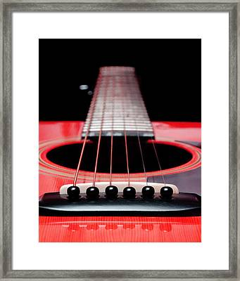 Red Guitar 16 Framed Print by Andee Design