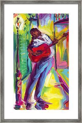 Red Guitar Framed Print by Saundra Bolen Samuel
