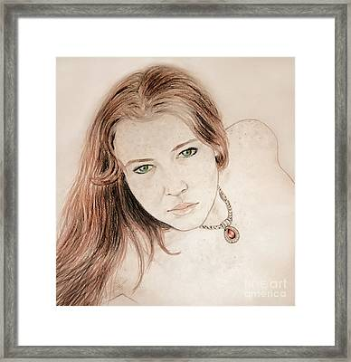 Framed Print featuring the drawing Red Hair And Freckled Beauty by Jim Fitzpatrick