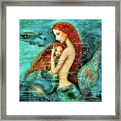 Red Hair Mermaid Mother And Child Framed Print by Shijun Munns