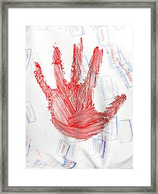 Red Hand Print Framed Print by Tom Gowanlock
