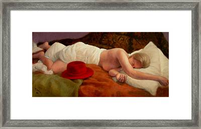 Framed Print featuring the painting Red Hat 7 by Donelli  DiMaria