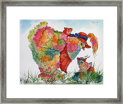 Red Hat Chick Cutie Framed Print by Gina Hall