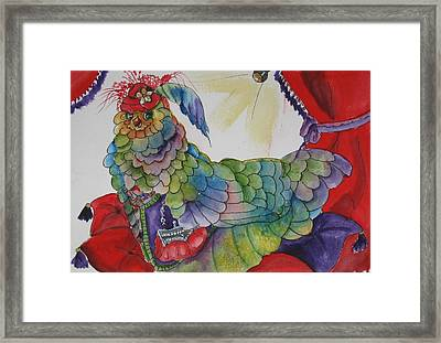 Red Hat Chick With Purse Framed Print by Gina Hall