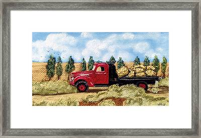 Framed Print featuring the pastel Red Hay Truck by Jan Amiss