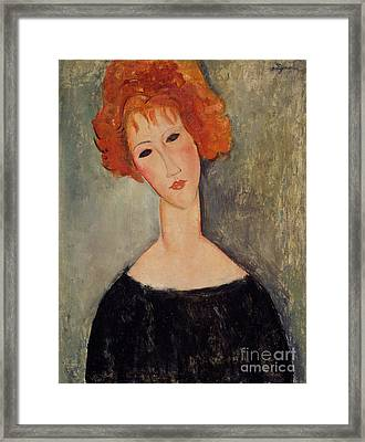 Red Head Framed Print by Amedeo Modigliani