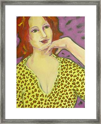 Red Head In Leopard Framed Print