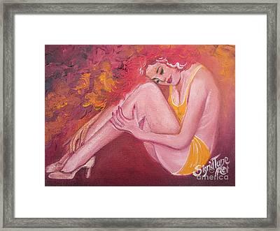 Red Head In Yellow Bathingsuit Framed Print