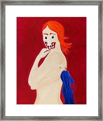 Red Head Nude Framed Print by Sal Marino