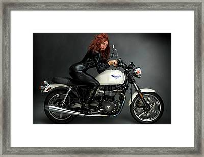 Triumph Motorcycle Red Head Framed Print by Audrey Christopher Bunn