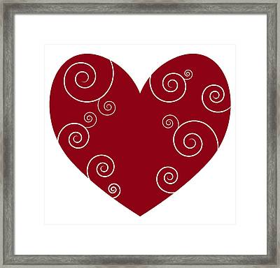 Red Heart Framed Print by Frank Tschakert