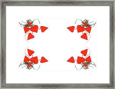 Red Hearts Frame On White Background Framed Print