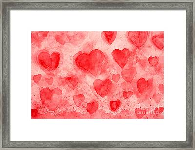 Red Hearts Framed Print by Stella Levi