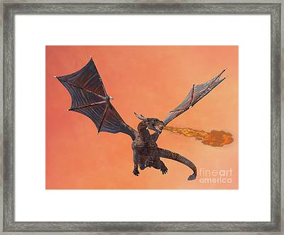 Red Hell Dragon Framed Print by Corey Ford