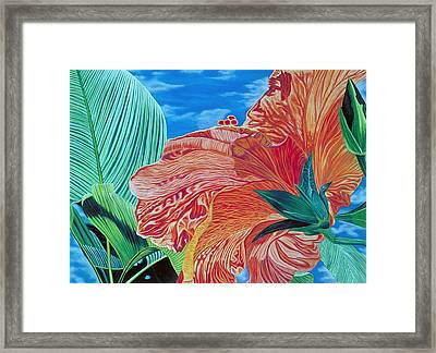 Red Hibiscus And Palms Framed Print