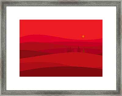 Red Hills Framed Print by Val Arie