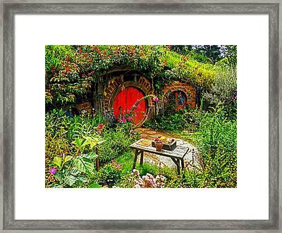 Red Hobbit Door Framed Print