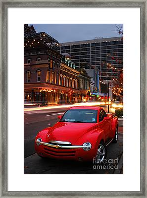 Red Hot Chevrolet Ssr In Downtown Of Dallas Fort Worth Framed Print