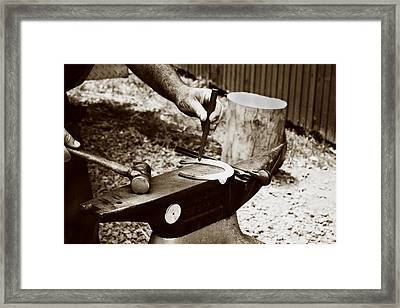 Red Hot Horseshoe On Anvil Framed Print