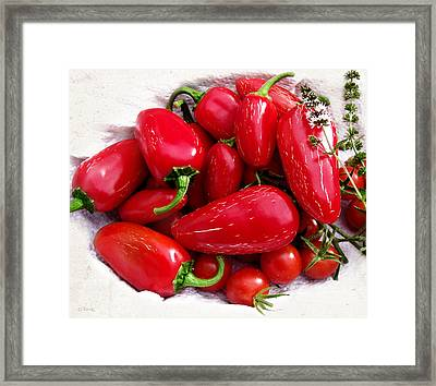 Framed Print featuring the photograph Red Hot Jalapeno Peppers by Shawna Rowe