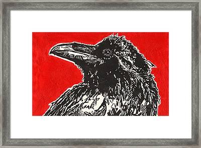 Red Hot Raven Framed Print by Julia Forsyth