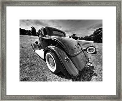 Red Hot Rod In Black And White Framed Print by Gill Billington