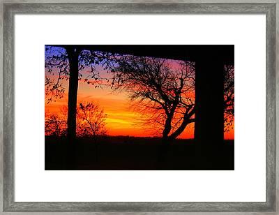 Red Hot Sunset Framed Print by Julie Lueders