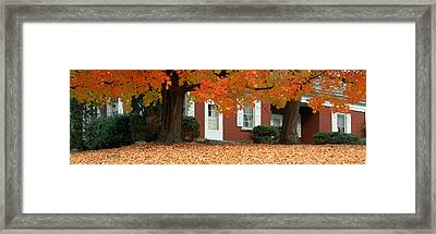 Red House And Maple Trees Along Route Framed Print by Panoramic Images