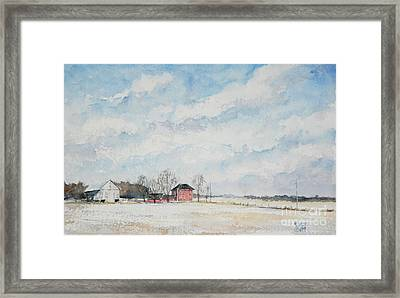 Red House Gray Barn Framed Print by Mike Yazel