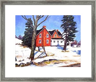 Red House In Rural Ontario Framed Print by Diane Daigle