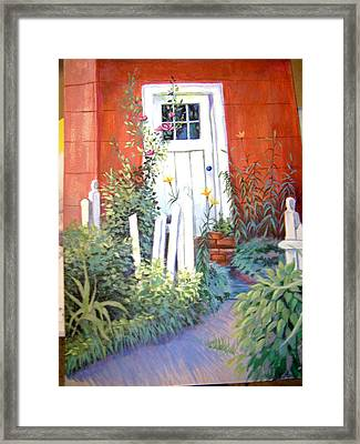 Red House Framed Print by Judy Keefer