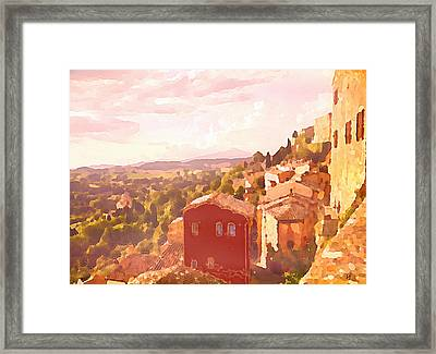 Red House On A Hill Framed Print