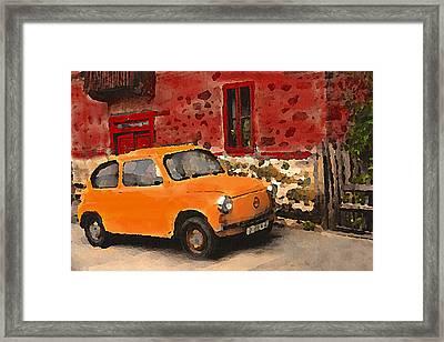 Red House With Orange Car Framed Print
