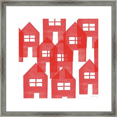 Red Houses- Art By Linda Woods Framed Print
