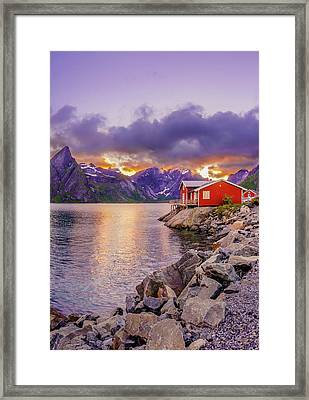 Red Hut In A Midnight Sun Framed Print by Dmytro Korol