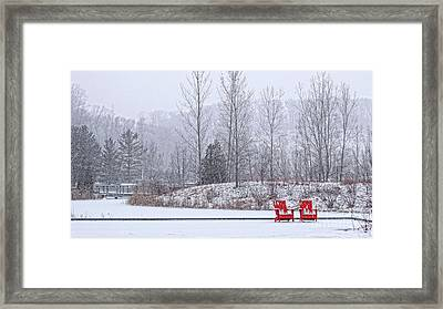 Red In Snow Framed Print by Charline Xia