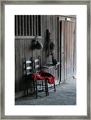 Red In The Barn Framed Print by Angie Bechanan